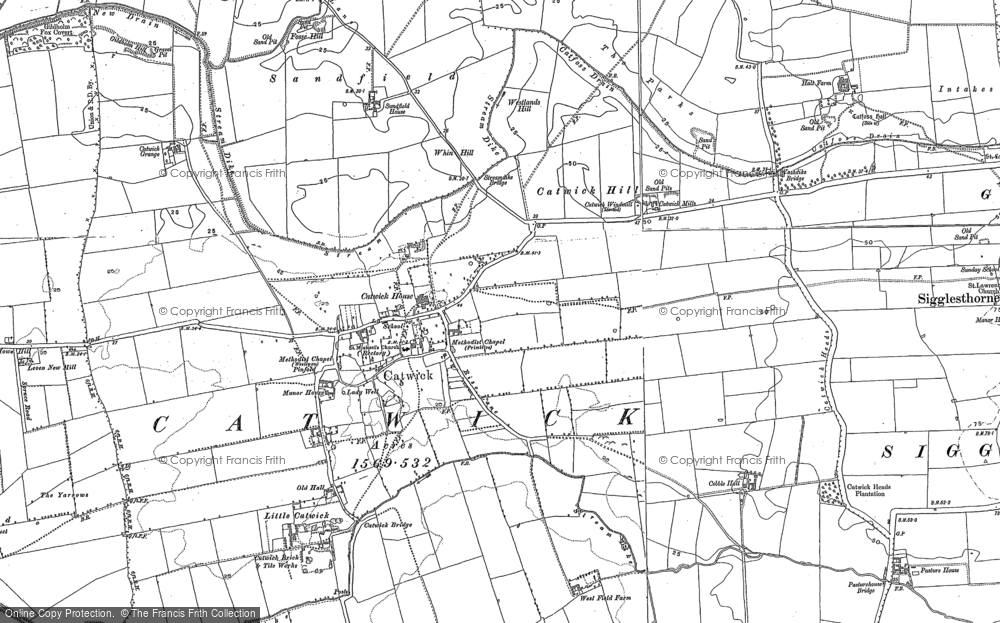 Old Map of Catwick, 1890 - 1909 in 1890