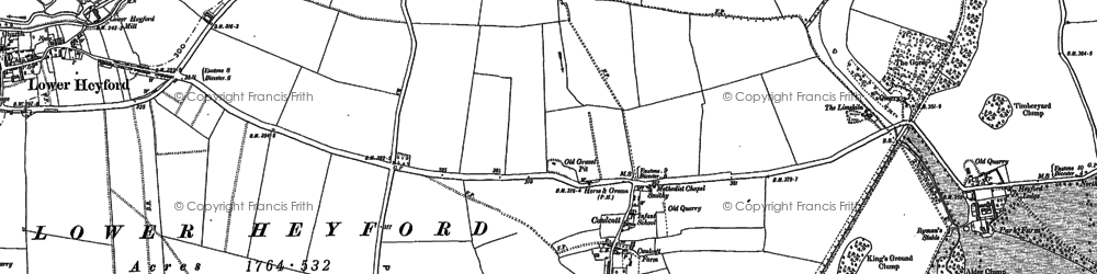 Old map of Aves Ditch in 1898