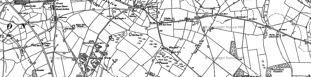 Old map of Wredon in 1898