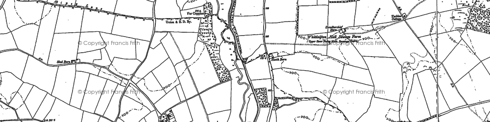 Old map of Whittington Common in 1882