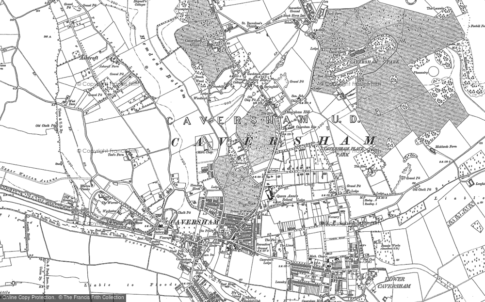 Old Map of Caversham, 1910 in 1910