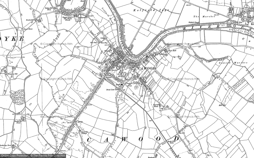 Old Map of Cawood, 1889 - 1890 in 1889