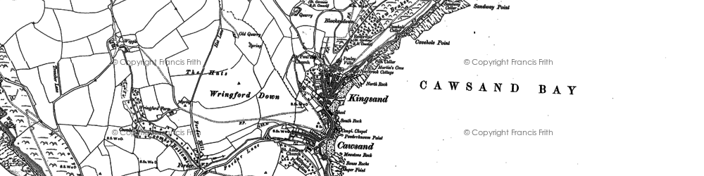Old map of Cawsand in 1886