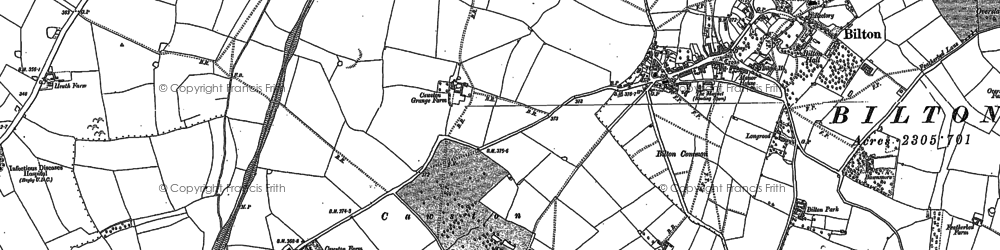 Old map of Cawston in 1903