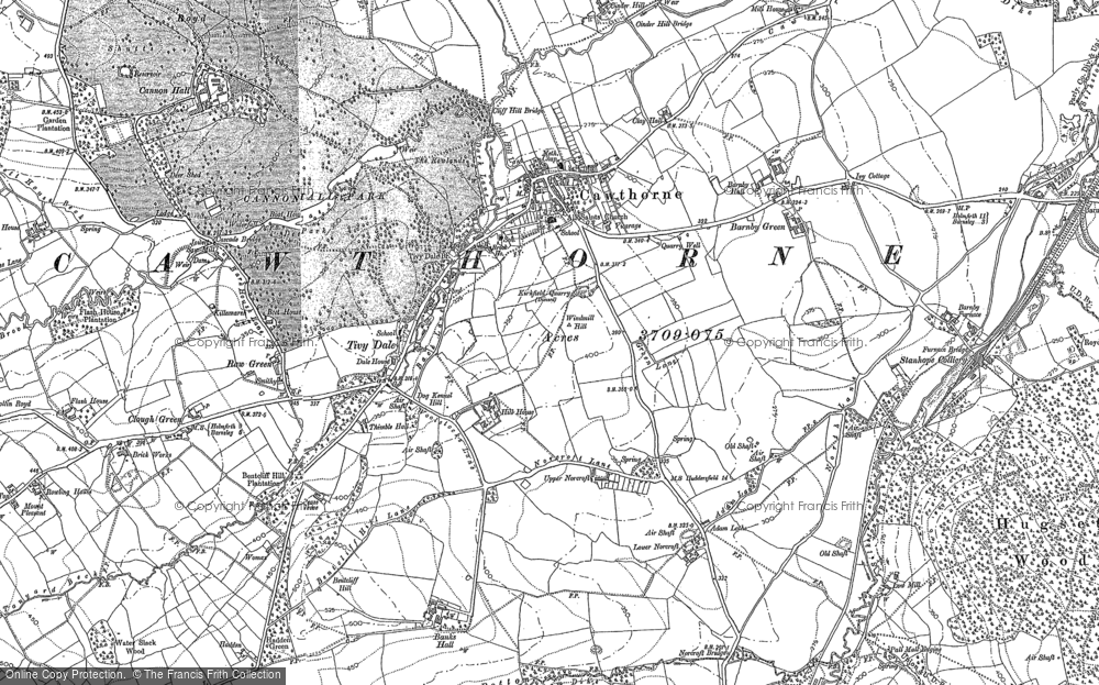 Old Map of Historic Map covering Tivy Dale in 1891