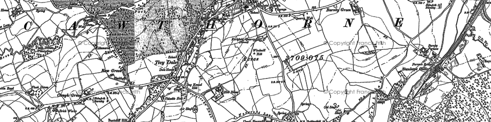 Old map of Cawthorne in 1891