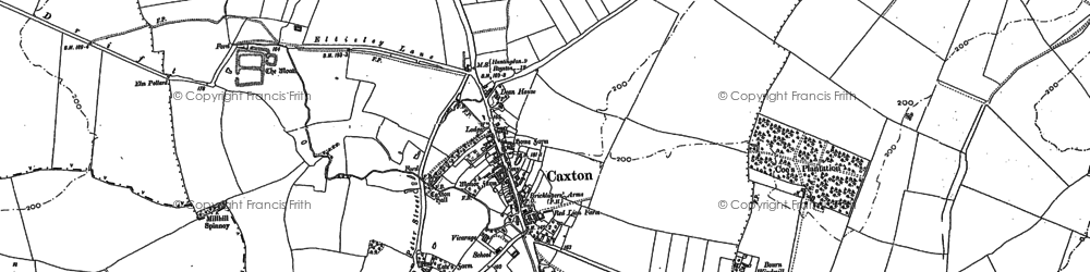 Old map of Caxton in 1886