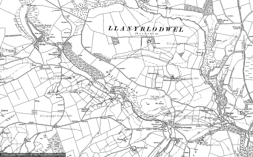 Old Map of Historic Map covering Afon Ogau in 1910