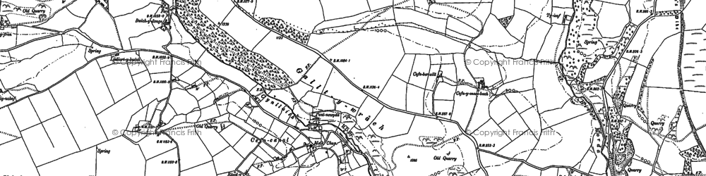 Old map of Afon Ogau in 1910
