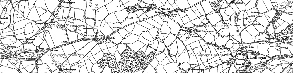 Old map of Adfa in 1884