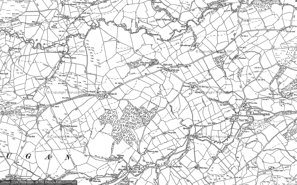 Old Map of Historic Map covering Afon Rhiw in 1884