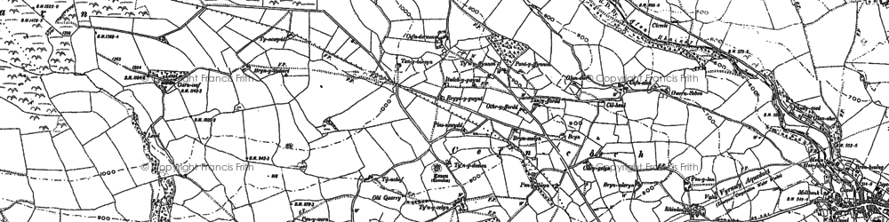 Old map of Afon Rhaeadr in 1900