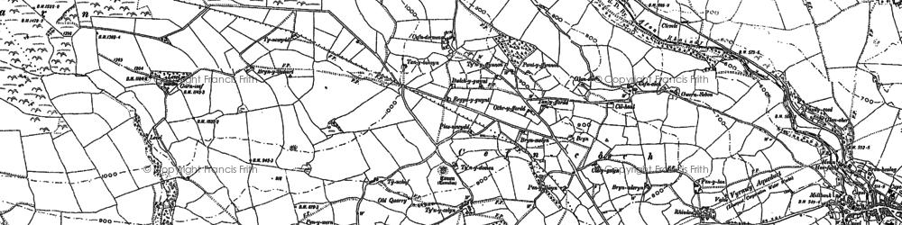 Old map of Afon Rhaeadr in 1900