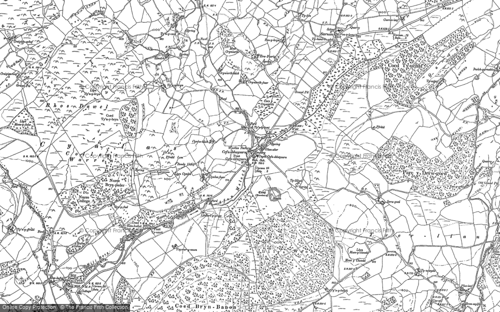 Old Map of Historic Map covering Afon Meloch in 1886