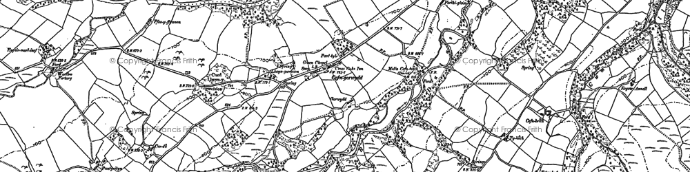 Old map of Abernant Lake in 1887