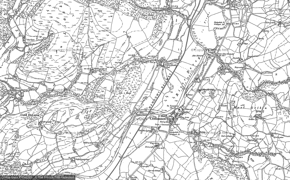 Old Map of Historic Map covering Aberhiriaeth in 1886