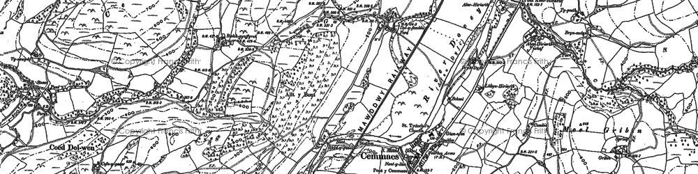 Old map of Aberhiriaeth in 1886