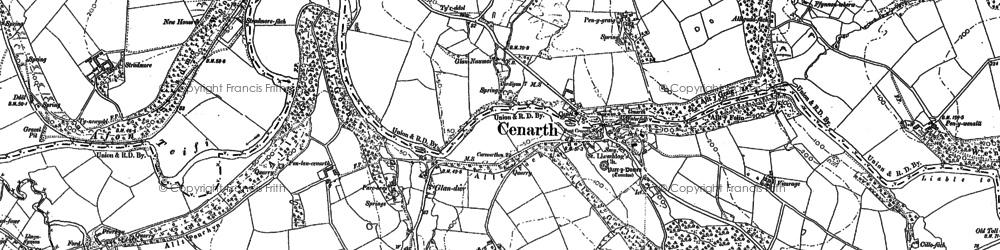 Old map of Cenarth in 1887