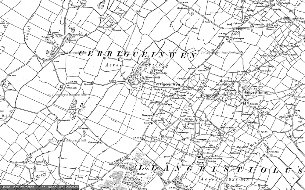Old Map of Historic Map covering Afon Gwna in 1887