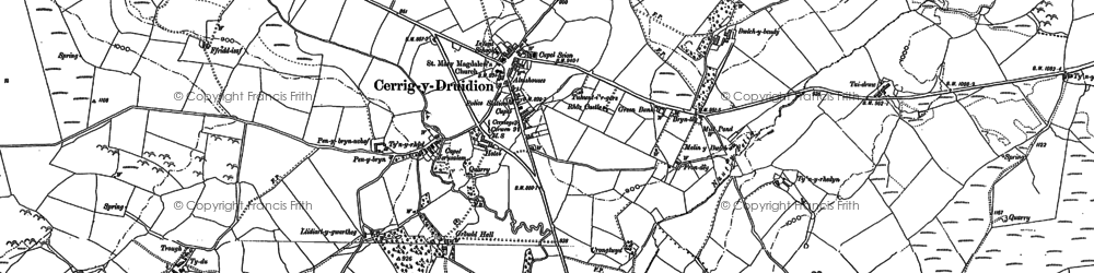 Old map of Cerrigydrudion in 1899