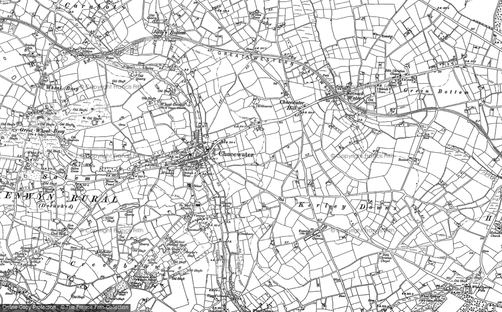 Old Map of Historic Map covering Wheal Busy in 1879