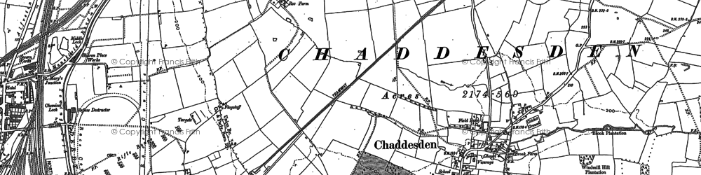 Old map of Chaddesden in 1879