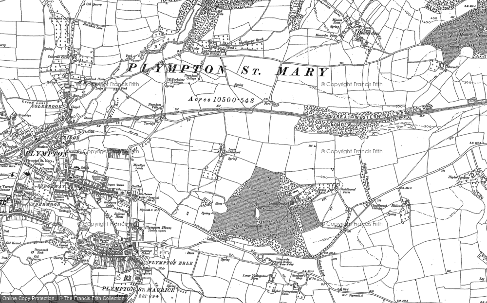 Old Map of Historic Map covering Ley in 1905