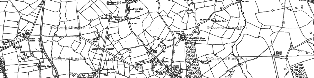 Old map of Baddesley Clinton in 1886