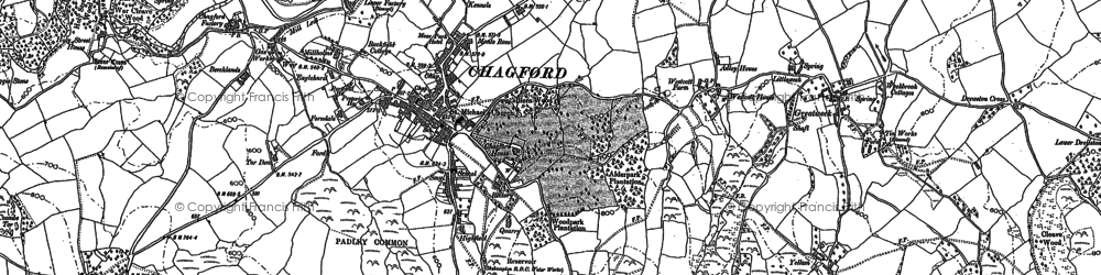 Old map of Chagford in 1884