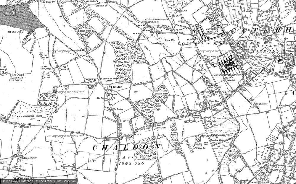 Old Map of Historic Map covering Alderstead Heath in 1895