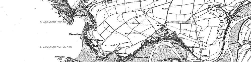 Old map of Bigbury-on-Sea in 1905