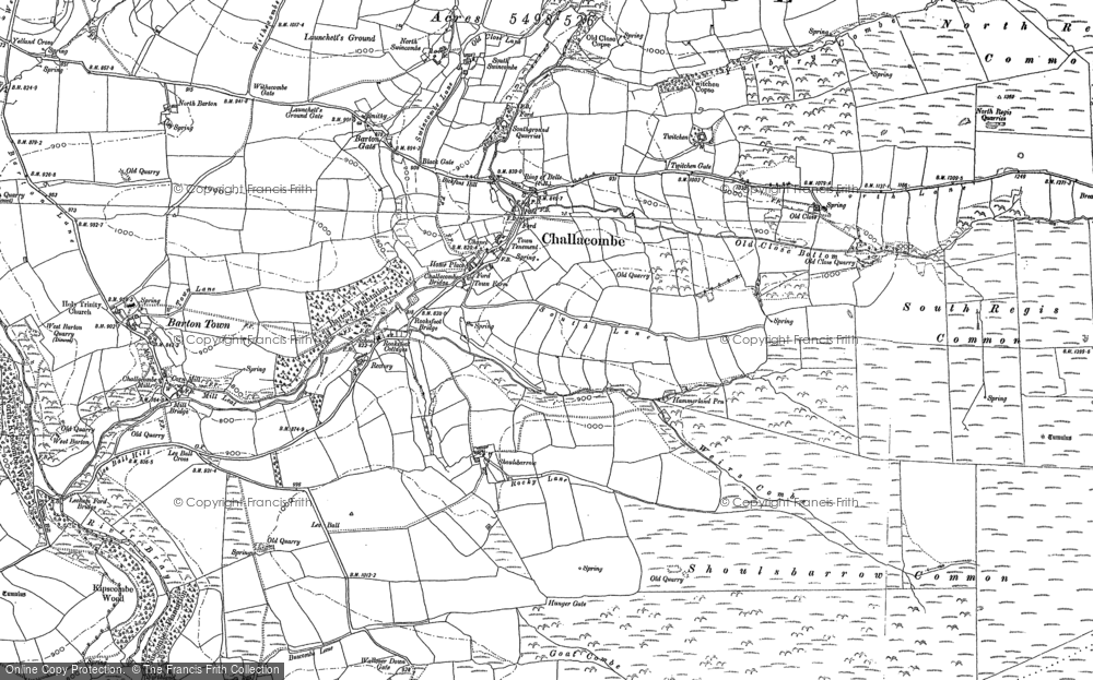 Old Map of Historic Map covering Yelland Cross in 1887