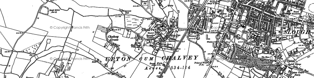 Old map of Chalvey in 1910