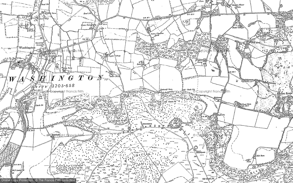 Old Map of Chanctonbury Ring, 1875 - 1896 in 1875