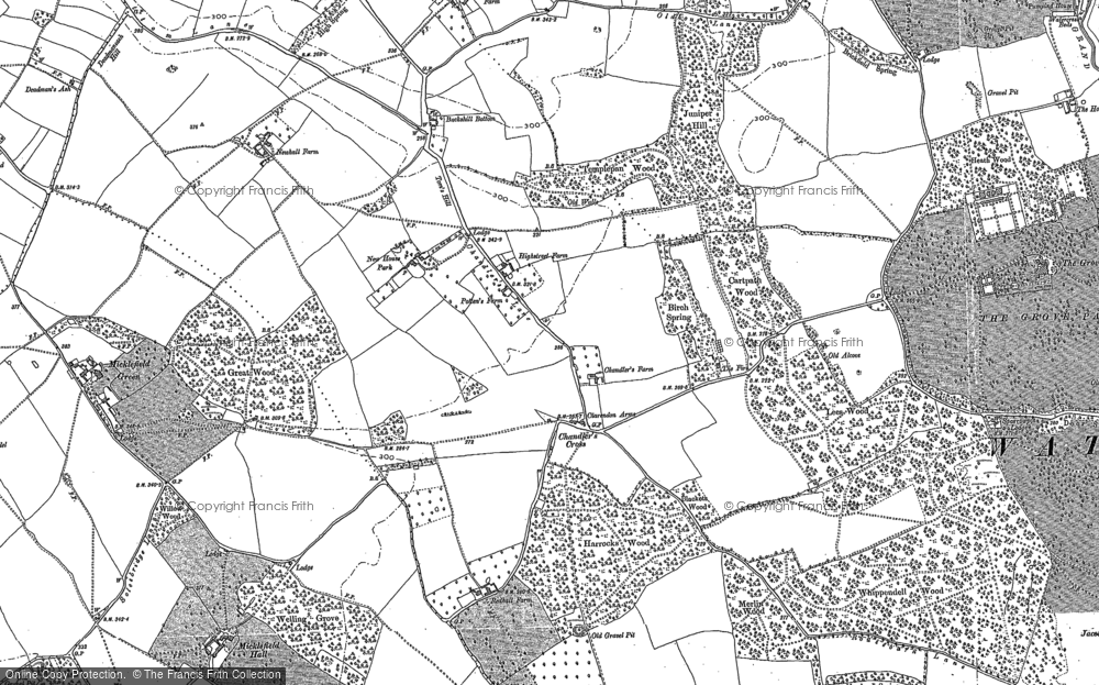 Old Map of Historic Map covering Lees Wood in 1896