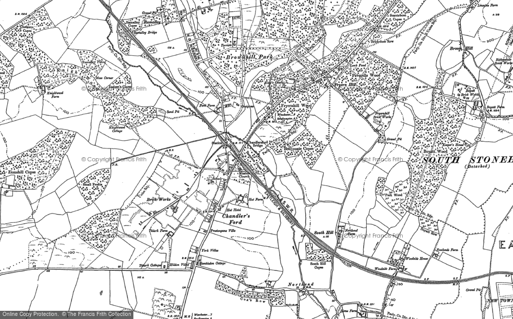 Old Map of Chandler's Ford, 1895 in 1895
