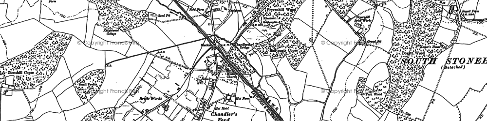 Old map of Chandler's Ford in 1895