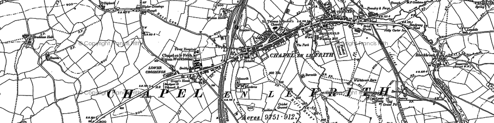 Old map of Chapel-en-le-Frith in 1879