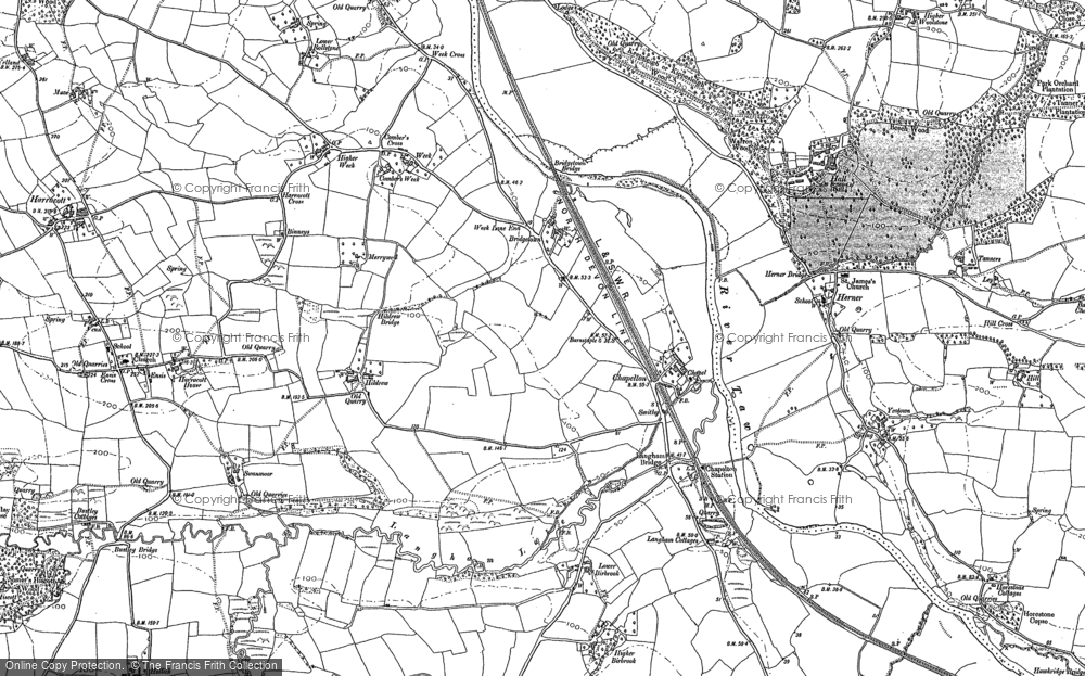 Old Map of Historic Map covering Woolstone in 1886