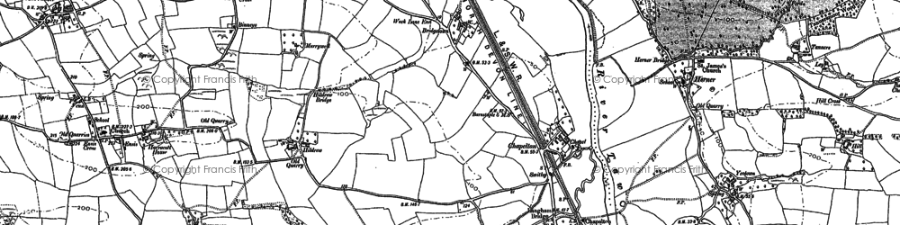 Old map of Woolstone in 1886
