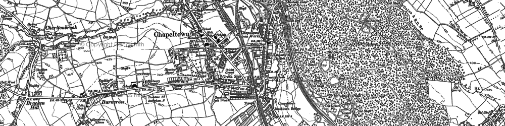 Old map of Lane End in 1891
