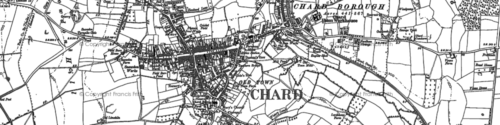 Old map of Chard in 1886