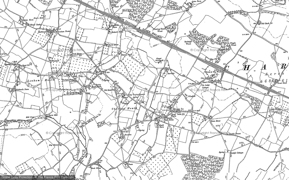 Old Map of Historic Map covering Tile Lodge in 1896