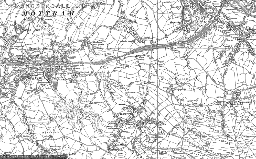 Old Map of Historic Map covering Lee Head in 1897