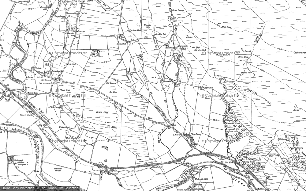 Old Map of Historic Map covering Lanehead in 1895