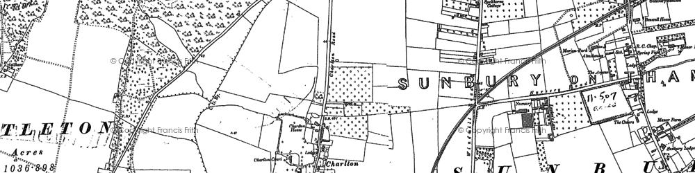 Old map of Sunbury Common in 1912