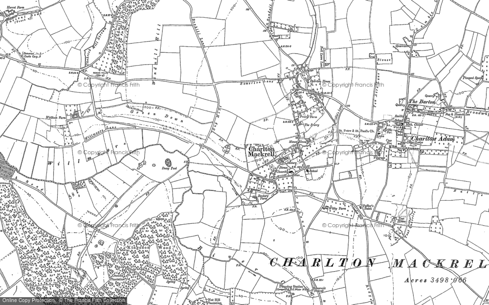 Old Map of Charlton Mackrell, 1885 in 1885