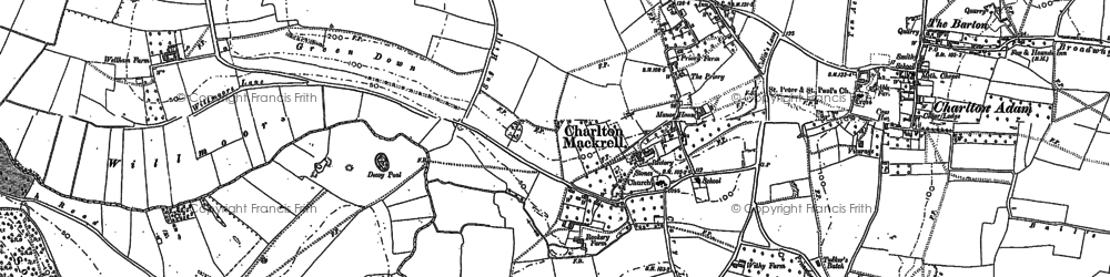 Old map of Charlton Mackrell in 1885