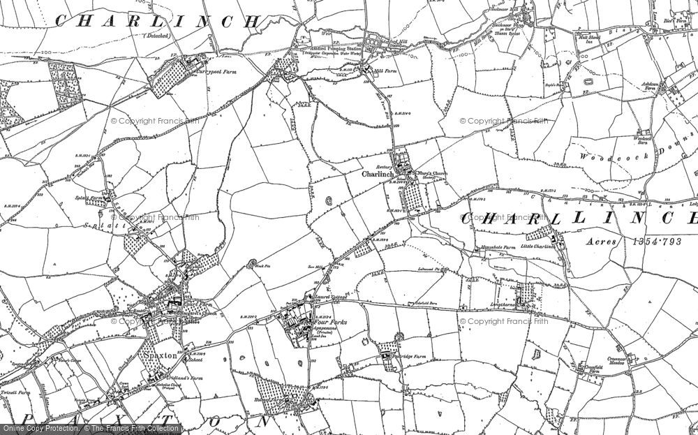 Old Map of Historic Map covering Woodcock Downs in 1886