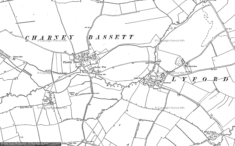 Old Map of Charney Bassett, 1898 - 1910 in 1898